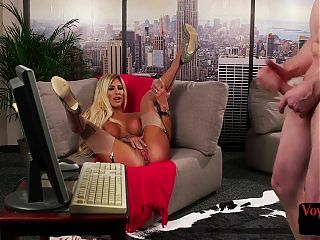 British voyeur with huge tits moans for jerking sub