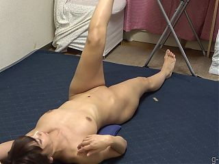 Busty japanese shows nude yoga exercise