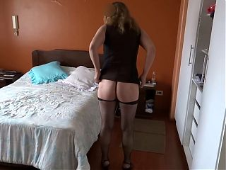 Our very hot maid starts to touch herself and asks me to fuck her
