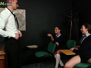 Dominating CFNM schoolgirls blowing nerds cock