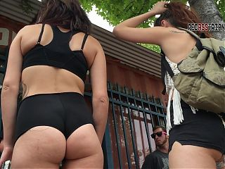 Jiggly soft ass cheeks hanging out of shorts