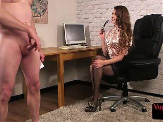 Lusty CFNM voyeur talks to JOI sub in office