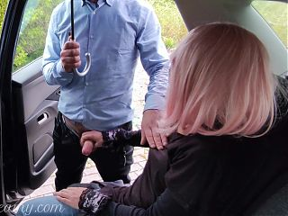 Dogging my wife in public car park and she jerks off voyeur