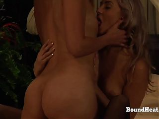 Slave And Mistress Playing While Voyeur Maid Masturbates