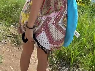Nude Beach hike with Tits and Pussy Flashing on my way there
